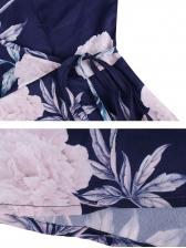 V-neck Floral Big Swing Sleeveless Dress