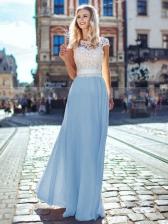 Elegant Lace Patchwork Backless Maxi Evening Dress