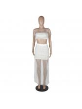 Gauze Studded Patchwork Crop Skirt Sets