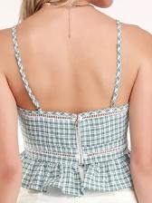 V Neck Ruffled Hem Plaid Camisole For Women