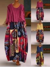 Vintage Printed Patchwork Long Sleeve Maxi Dress