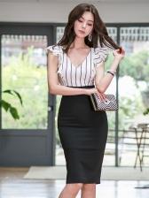 V Collar Strip Patchwork Bodycon Ladies Dress