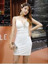Sexy V Collar Sleeves Bodycon Straps Dress