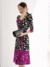 Elegant Contrast Color Plaid Tie Wrap Dress