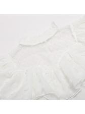 Gauze Patchwork SwissDot Tie-Wrap White Blouse