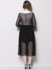 Trendy V-neck Lace Patchwork Midi Dress