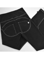 Euro Sporty Black High Waist Stretch Jeans