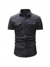 Hot Sale Short Sleeve Denim Shirt