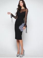 Graceful Gauze Patchwork Long Sleeves Dress
