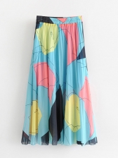 Matching Contrast Color Printed Pleated Maxi Skirt