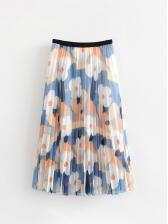Vacation Flower Printed Pleated Gauze Maxi Skirt