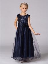 New Style Sequins Stereo Flower Long Girl Dress