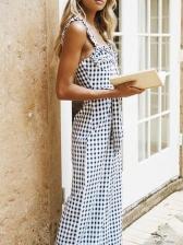 Stylish Shirred Plaid Sleeveless Women Jumpsuit