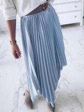 New Arrival Solid Swallowtail Hem Pleated Skirt