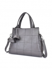 Ladies Solid Checked PU Handbags With Shoulder Belt