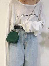 Solid Metal Splicing Chain Shoulder Bag For Women