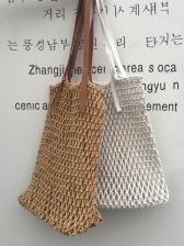 Vacation Hollow Out Cotton Thread Straw Handbag