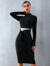 Bowknot Stand Collar Long Sleeve Black Dress