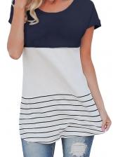 Hot Sale Contrast Color Striped T-shirt Design