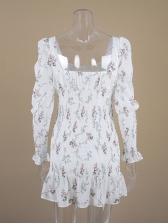 Fresh Puff Sleeve Square Collar Printed Ruffled Dress