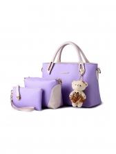 Contrast Color Cute Bear Women 3 Pieces Handbag