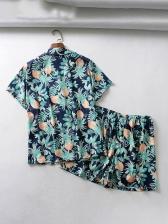 Summer Pineapple Printed Two Piece Sleepwear