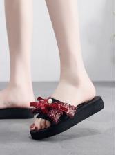 Summer Butterfly Knot Women Beach Slide Slippers
