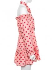 Halter Stringy Selvedge Polka Dot Long Sleeve Dress