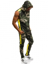 Hooded Collar Camouflage Sleeveless Men Suit