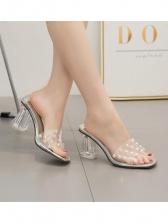 Fashionable Summer Pearl PVC Clear Heel Slipper