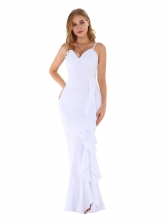 Solid Color Backless Ruffled Maxi Dress
