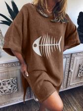 Fishbone Printed Loose Split Short Sleeve Tee
