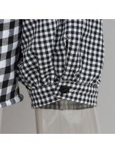 Irregular One Shoulder Plaid Puff Sleeve Cropped Blouse