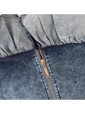 Fashion Boat Neck Ruffles Cropped Denim Blouse