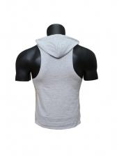 Hooded Collar Letter Printed Sporting Men Tank