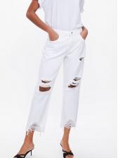Bf Style Tassel Hem Straight Ripped Jeans