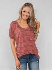 V Neck Multicolor Striped Short Sleeve T-Shirt