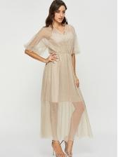 Solid Color Gauze Studded Prom Dress