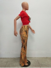 Rhinestone Print Tee With Leopard Fitted Flare Pants