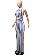 Backless Cross Tie-Wrap Sleeveless Striped Jumpsuit