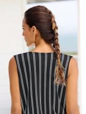 V Neck Striped Drawstring Sleeveless Romper