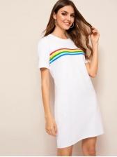 Cotton Rainbow Strip Printed Short Sleeves Dress