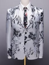 Lapel Flower Printed Single-Breast Men Suit