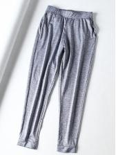 High Stretch Sports Solid Ninth Pants