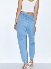 Euro High Waist Blue Jeans For Women