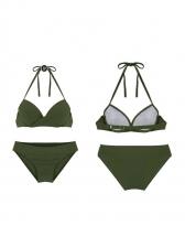 Solid Halter Bikini Sets With Dots Twist Ruffles Cover Ups