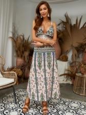 V Neck Printed Split Vacation Maxi Dress
