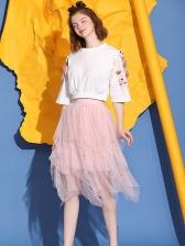 Stereo Flower Half Sleeve Tee With Gauze Sequin Skirt