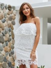 Elegant Off Shoulder Lace Ruffled Dress