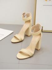 Euro Style Round Toe Ankle Strap Heel
